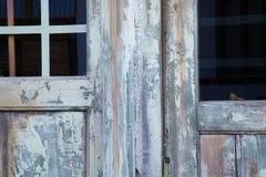 Puerta de madera con los vidrios Imagenes de archivo