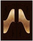 Puerta de madera con remolinos ilustración del vector