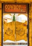 Puerta de madera del estilo del vaquero Foto de archivo libre de regalías
