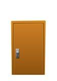 Puerta de madera del marrón brillante de la historieta cerrada ilustración del vector