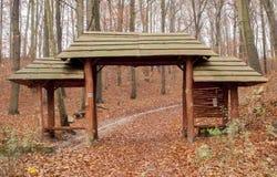 Puerta de madera en el bosque Foto de archivo libre de regalías