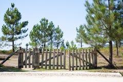 Puerta de madera en el campo Fotos de archivo libres de regalías