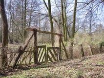 Puerta de madera hecha a mano rústica que lleva al arbolado Foto de archivo libre de regalías