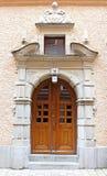 Puerta de madera hermosa, vieja arquitectura, Estocolmo Imagen de archivo