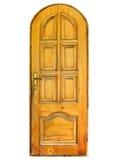 Puerta de madera natural cerrada aislada Fotografía de archivo libre de regalías