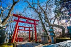 Puerta de madera roja japonesa de la entrada imagen de archivo libre de regalías