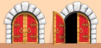 Puerta de madera roja medieval adornada con hierro labrado ilustración del vector