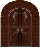 Puerta de madera tallada stock de ilustración