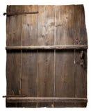 Puerta de madera vieja con las tarjetas condensadas. aislado imágenes de archivo libres de regalías