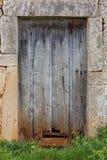 Puerta de madera vieja dañada demasiado grande para su edad con la hierba Imagen de archivo libre de regalías