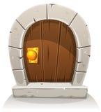 Puerta de madera y de piedra de la historieta de Hobbit Imagenes de archivo
