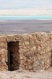 Puerta de Masada y el mar muerto Imagenes de archivo