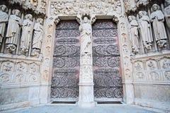Puerta de Notre Dame de Paris Foto de archivo