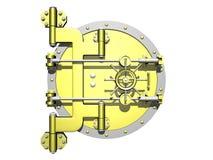 Puerta de oro de la cámara acorazada cerrada Fotografía de archivo