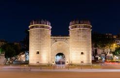 Puerta de Palmas, Badajoz, Spain. Palms Gate, Monument roundabout at night Puerta de Palmas, Badajoz, Spain stock photography