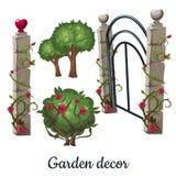 Puerta de piedra demasiado grande para su edad con las rosas Decoración del jardín Ilustración del vector libre illustration