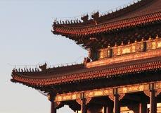 Puerta de Tiananmen en la puesta del sol Foto de archivo libre de regalías