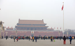 Puerta de Tiananmen en un día nebuloso Imágenes de archivo libres de regalías