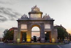 Puerta de Toledo gate in Madrid at dusk Stock Photography