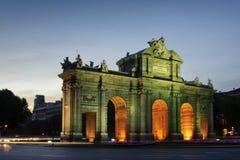 Puerta De w Madryt Alcala, Hiszpania (Alcala Brama) Obrazy Royalty Free