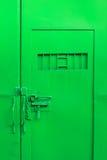 Puerta del acero del color verde Foto de archivo libre de regalías