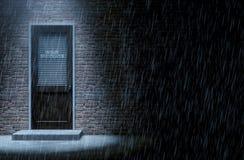 Puerta del detective privado fuera de la lluvia stock de ilustración