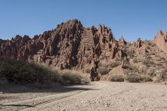 Puerta del Diablo, aka Devils Gate, red rock formation in dry Red Canyon Quebrada de Palmira near Tupiza, Bolivian Andes- Bolivia. South America Royalty Free Stock Images