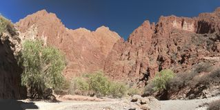 Puerta del Diablo, aka Devils Gate, red rock formation in dry Red Canyon Quebrada de Palmira near Tupiza, Bolivian Andes- Bolivia Royalty Free Stock Photography
