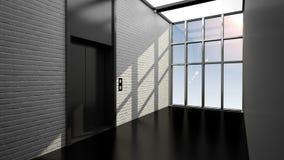Puerta del elevador abierta y cercana en el edificio elegante stock de ilustración