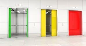 Puerta del elevador del semáforo stock de ilustración