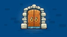 puerta del Hada-cuento con la entrada de oro de las manijas Ilustración del vector libre illustration