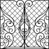 Puerta del hierro labrado, puerta ilustración del vector