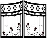 Puerta del hierro labrado, puerta, cerca ilustración del vector