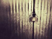 Puerta del metal con el bloqueo Imágenes de archivo libres de regalías