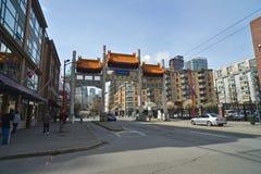 Puerta del milenio en Vancouvers Chinatown, Canadá Imagen de archivo