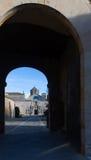 Puerta del monasterio de Poblet Fotos de archivo