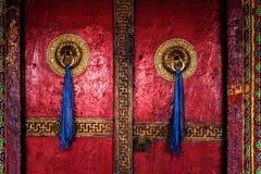 Puerta del monasterio de Spituk Ladakh, la India foto de archivo