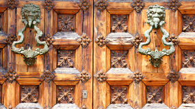 Puerta del Palau De Mącący ja Cel w Sitges dla tło i tekstur Obrazy Stock