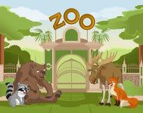 Puerta del parque zoológico con los animales 1 del bosque ilustración del vector