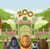 Puerta del parque zoológico con los animales planos africanos ilustración del vector