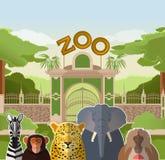 Puerta del parque zoológico con los animales planos africanos stock de ilustración