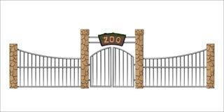 Puerta del parque zoológico Objeto aislado en estilo de la historieta en el fondo blanco Entrada con enrejado ilustración del vector