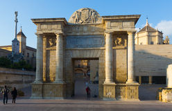 Puerta del Puente is  Renaissance gate in Cordoba Stock Image
