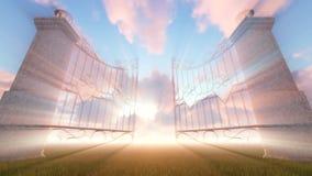 Puerta del ` s del cielo con el rayo de dios libre illustration