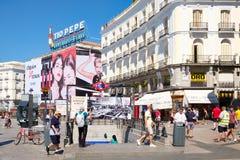Puerta del Sol, ο καύτερα - γνωστό και πιό πολυάσχολο τετράγωνο στη Μαδρίτη Στοκ Εικόνες