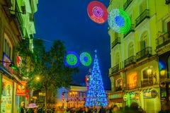 Puerta del Sol πλατεία, με ένα χριστουγεννιάτικο δέντρο, στη Μαδρίτη Στοκ Φωτογραφίες