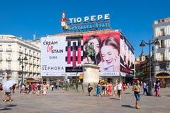 Puerta del Sol, το πιό busisest και διασημότερο τετράγωνο της Μαδρίτης Στοκ φωτογραφίες με δικαίωμα ελεύθερης χρήσης