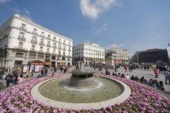 Puerta del Sol. Madrid, Spain - February 22, 1012: view of the square known as Puerta del Sol, one of the neuralgic points of the city of Madrid, Spain Royalty Free Stock Photography