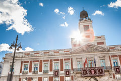 Puerta del sol. View of the Clock Tower of Real Casa de Correos at Puerta del Sol, Madrid royalty free stock images