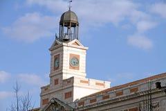 Puerta del Sol clock at the square, Madrid Stock Image